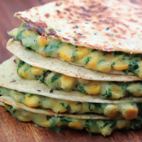 Spinach corn quesadilla