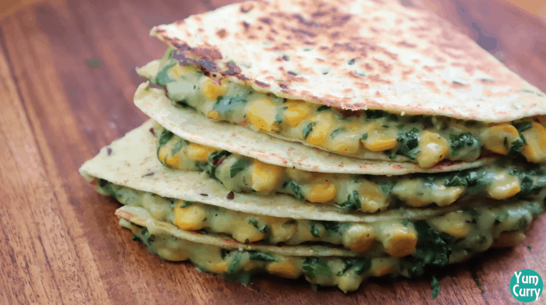 Spinach corn quesadilla