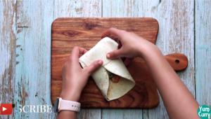 fold tortilla to make a wrap