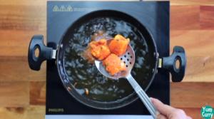 frying paneer until crisp