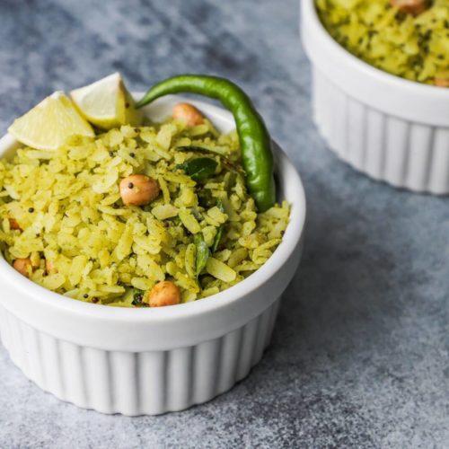 Hara bhara poha recipe - mint poha recipe
